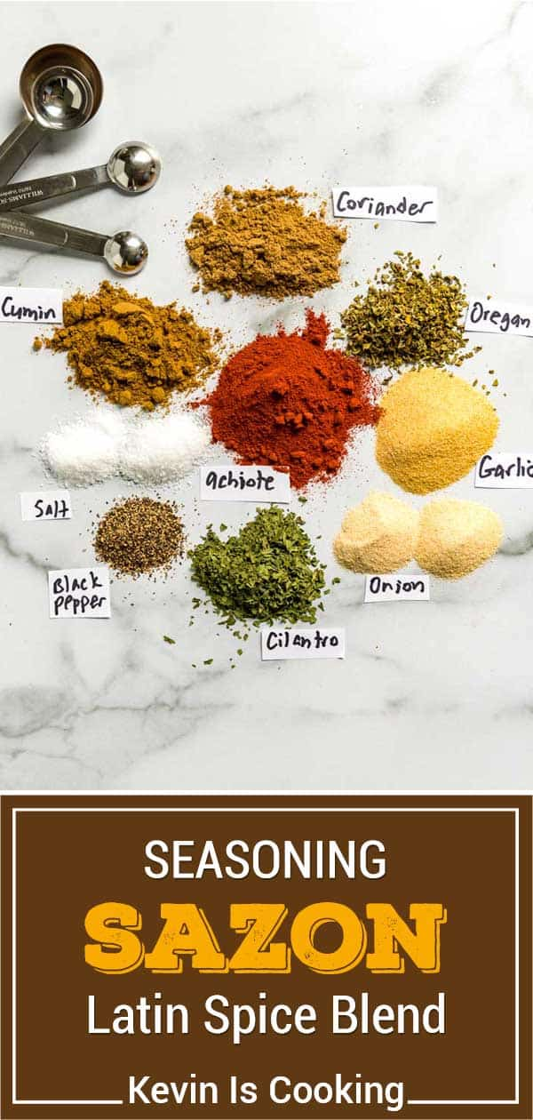 spices to make sazon on marble top