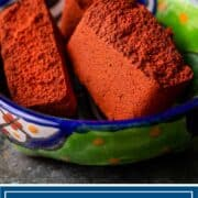 achiote paste pieces in small bowl