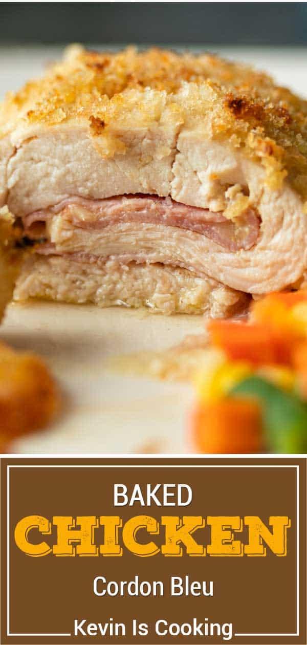 close up of juicy chicken cordon bleu bake