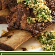 baked short ribs with gremolata on platter