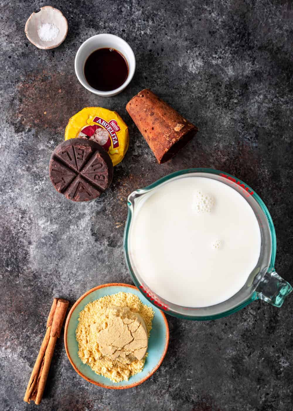 overhead: ingredients to make chocolate atole recipe