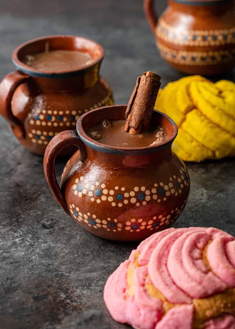 3 mugs of mexican masa harina chocolate drink