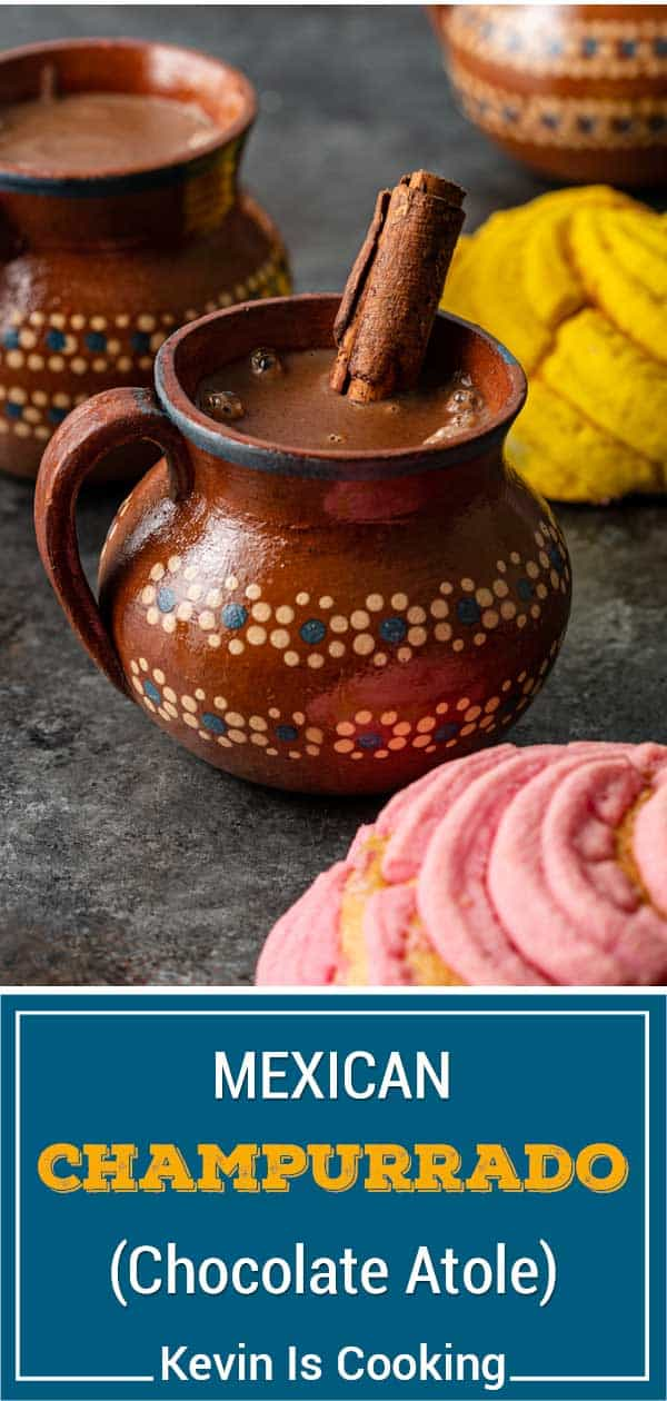 titled image shows mug of hot champurrado with whole cinnamon stick