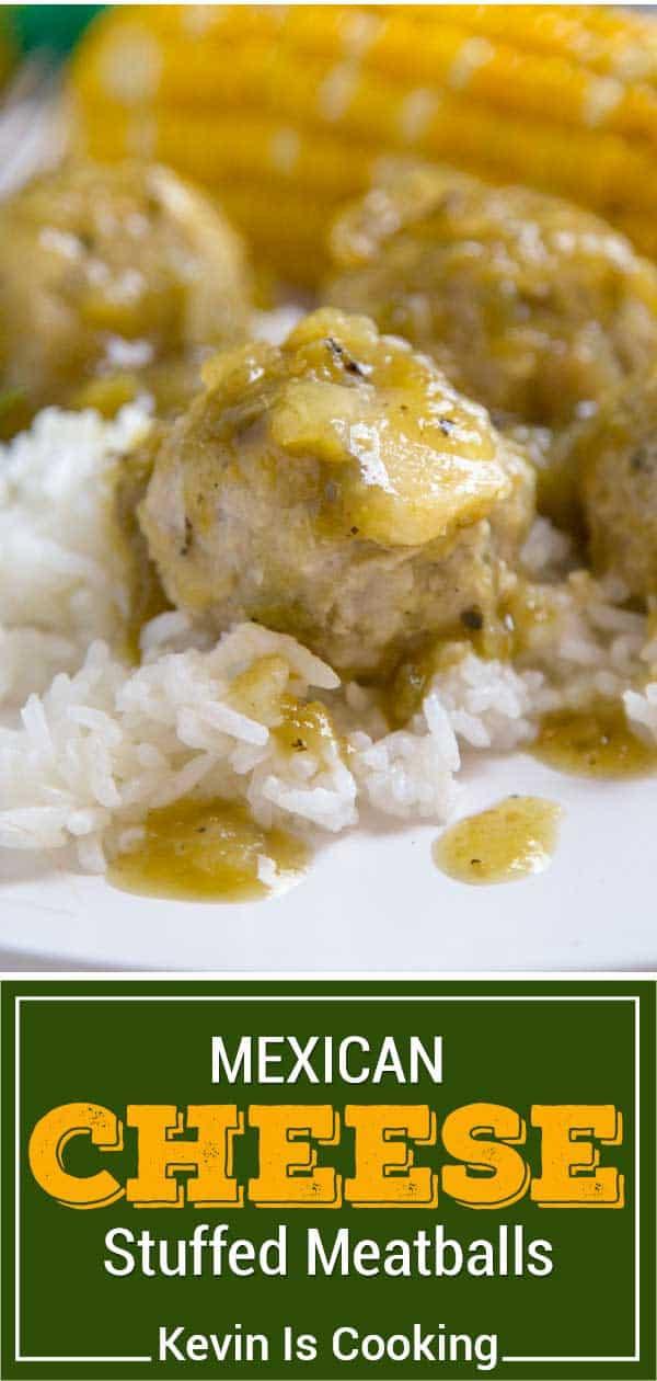 titled image: salsa verde on cheese stuffed meatballs