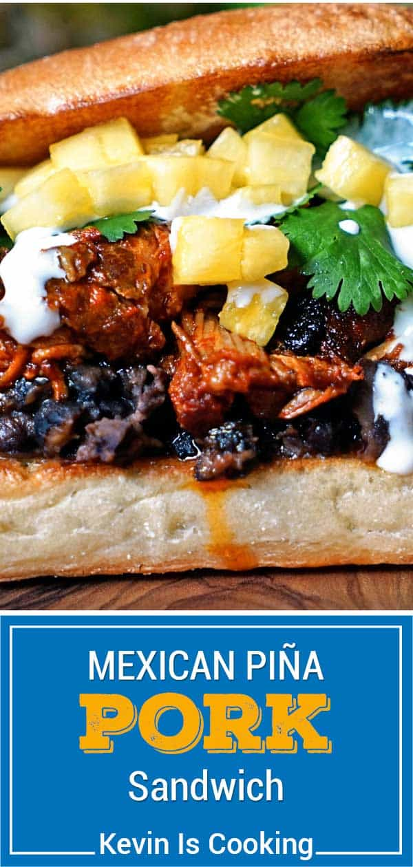 titled image: mexican pineapple pork sandwich with black beans