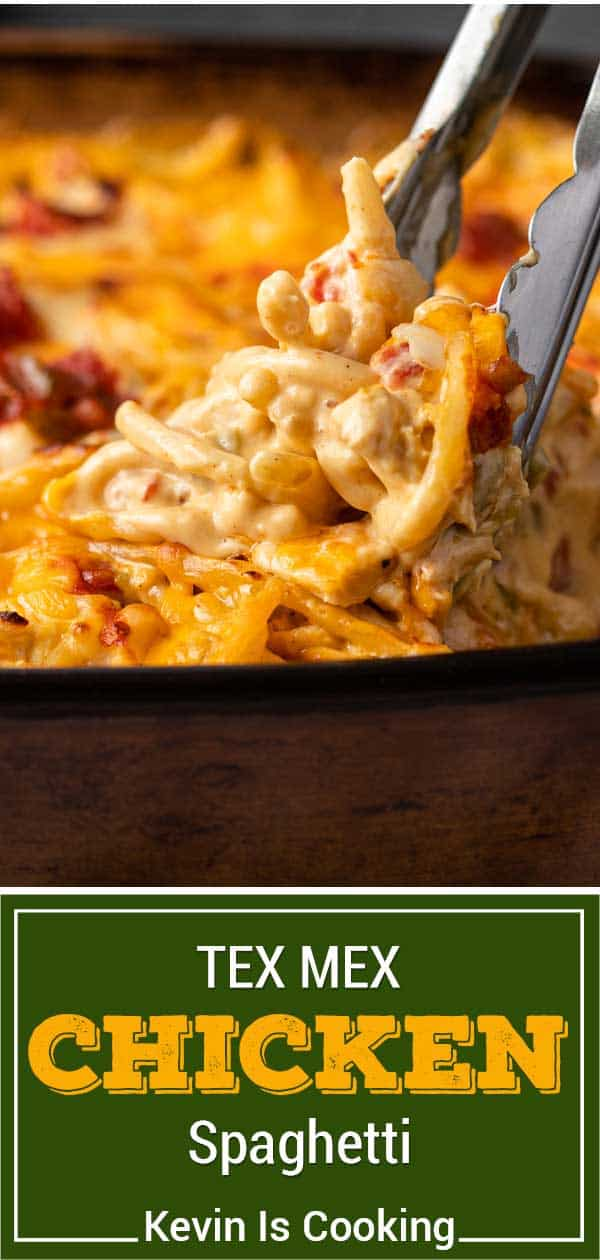 titled image: close up of chicken spaghetti in casserole dish