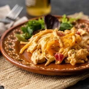 plate of chicken spaghetti casserole