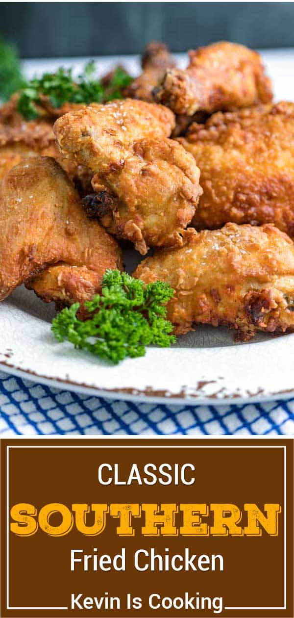 titled image of skillet fried chicken on white plate