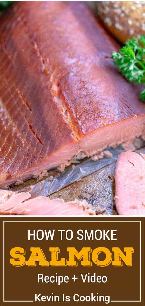 overhead of smoked salmon on cutting board