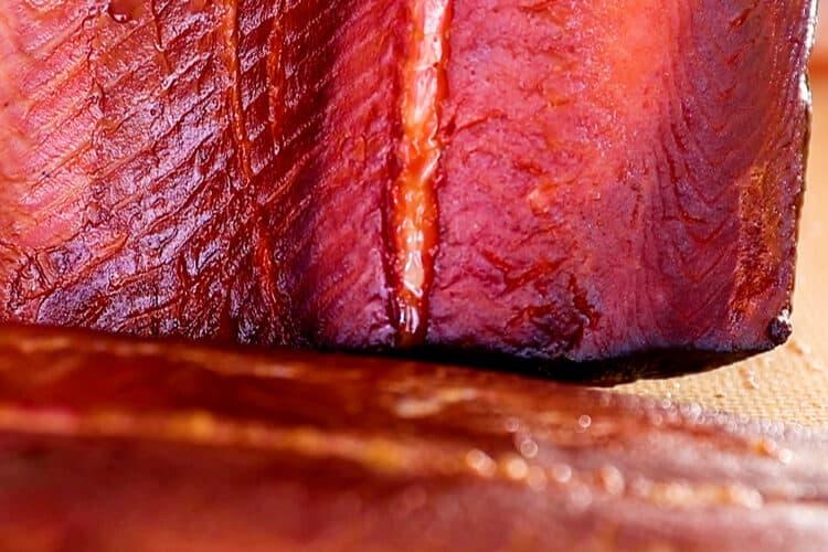 smoked salmon close up